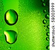 Green water drops background. Square composition. - stock photo