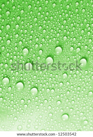 Green water drops background texture - stock photo