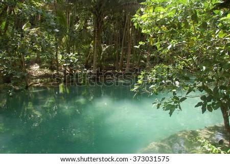 Green water of Kawasan river in Cebu, Philippines - stock photo