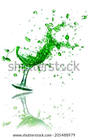 green water splash isolated on white background. - stock photo