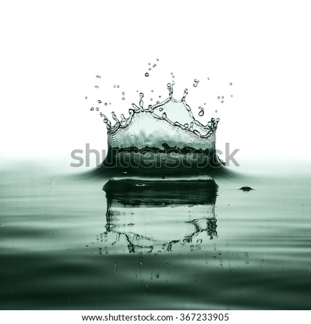 GREEN water splash isolated on white background