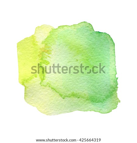 green watercolor hand painted background isolated on white