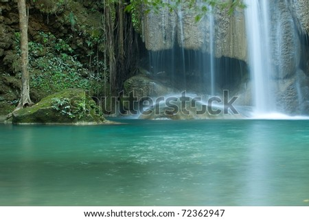 Green waterfall - stock photo