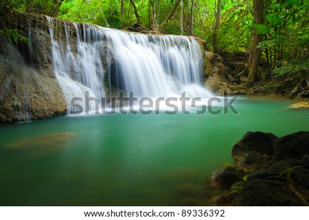 Green waterfall in Kanjanaburi  Thailand