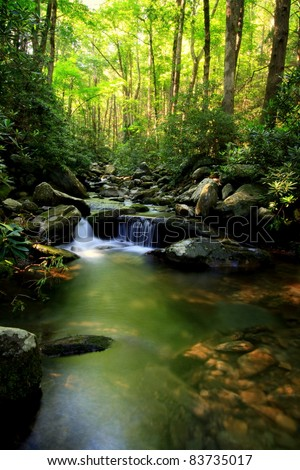 Green Waterfall Stream in the Mountains - stock photo