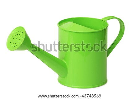 Green watering can for household use isolated on white background - stock photo