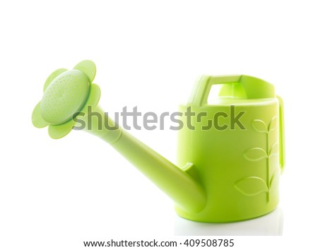 green watering can isolated on white - stock photo
