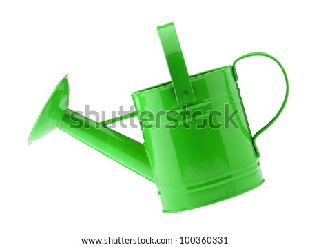 Green watering can. It is isolated on a white background - stock photo