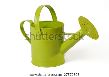 green watering-can on white background - stock photo