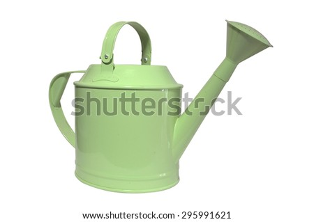Green watering can, pot on white background