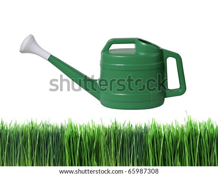 green watering pot above green grass with white background - stock photo