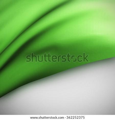 Green Waving flag background. Luxury fabric background. - stock photo