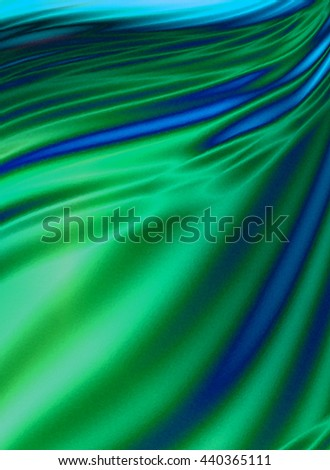 Green wavy background with blue wavy smudges  - stock photo