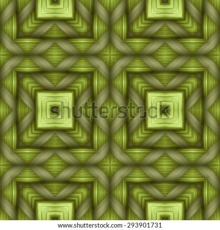 green weaving wood  texture  ornament pattern - stock photo
