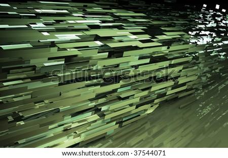 Green Web Data File Sharing Network Artwork - stock photo