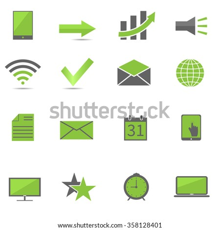 Green web icon set, technology concept. Raster illustration