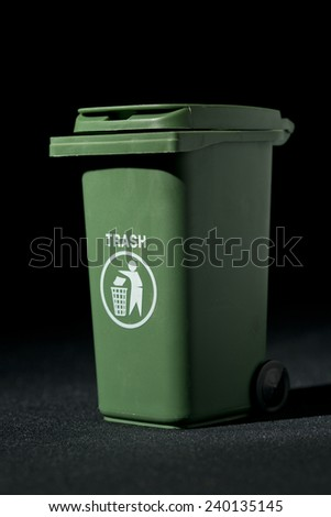 Green Wheelie Bin - stock photo