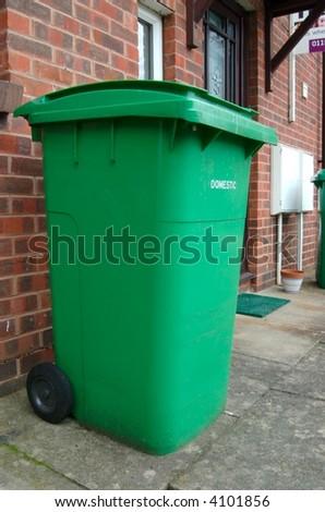 Green Wheelie Recycle Bin - stock photo