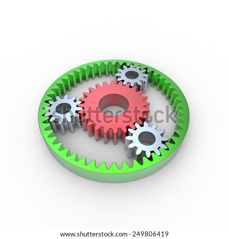 Green white and red anodized steel planetary gears on a white background - stock photo