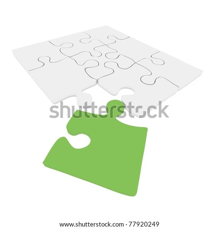 Green - white puzzle concept: computer render - stock photo