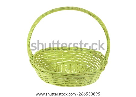 Green Wicker Basket  On White Background - stock photo