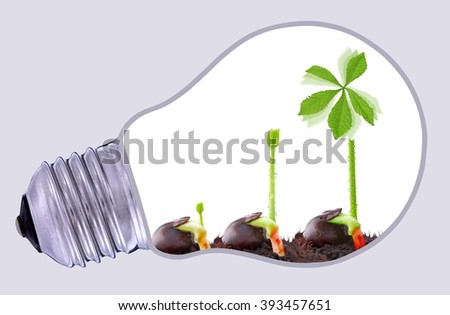 Green wind power farm, sustainable development  - stock photo