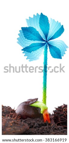 Green wind power plant, renewable energy sources and sustainable development - stock photo