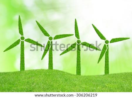 Green wind turbines symbol - stock photo
