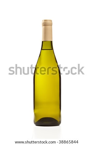 Green Wine bottle isolated on a white background.