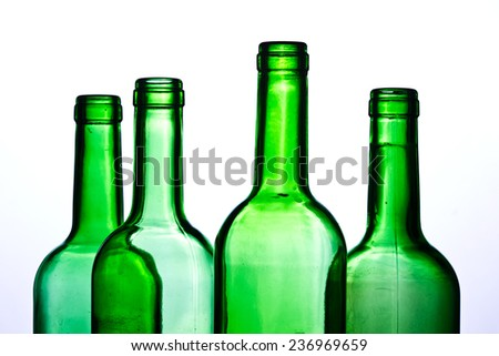 Green wine bottles transparent on white background.