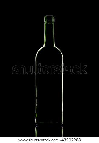 Green wine glasses, a black background. - stock photo