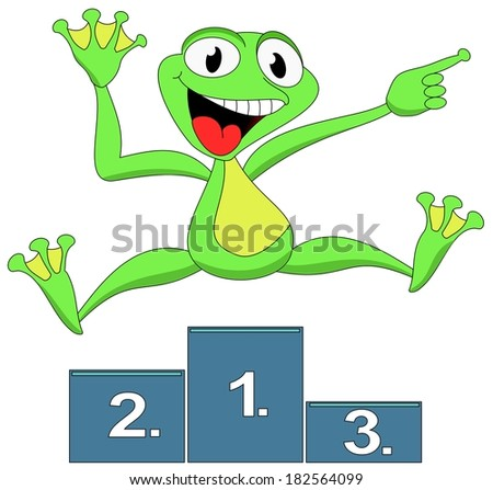 Green winner cheerful frog, jumping and shows - stock photo