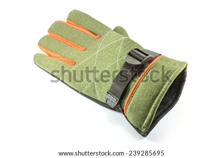 green winter glove isolated on white background - stock photo