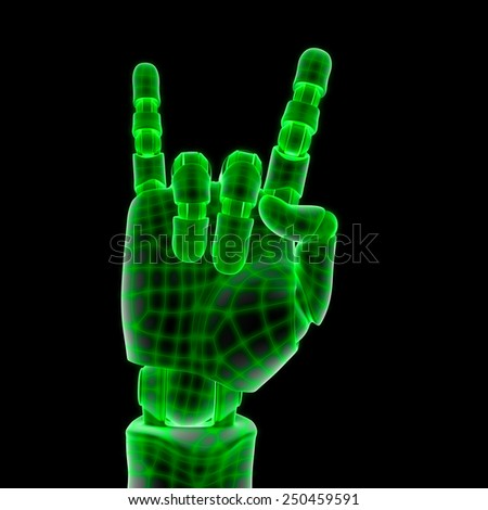 green wired robotic hand - stock photo