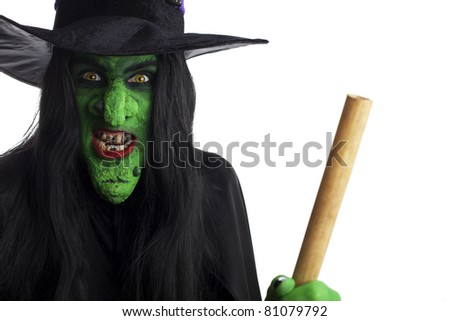 Green witch on her broom, white background. - stock photo