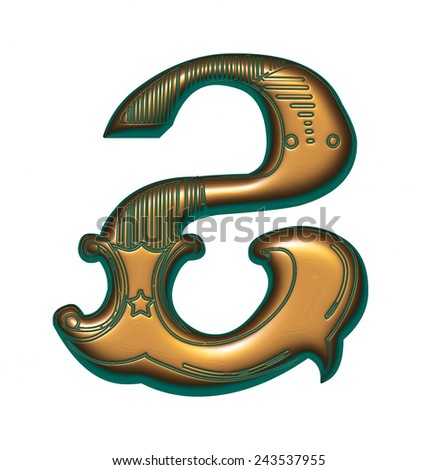 Green with golden Number 2 on isolated white background. - stock photo