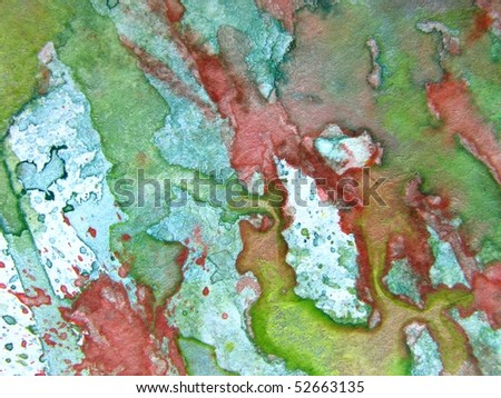 Green with Red Watercolor 5 - stock photo