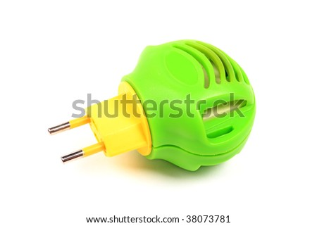Green with yellow modern fumigator against insects isolated on white. - stock photo