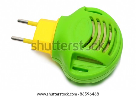Green with yellow modern fumigator. Isolataed - stock photo