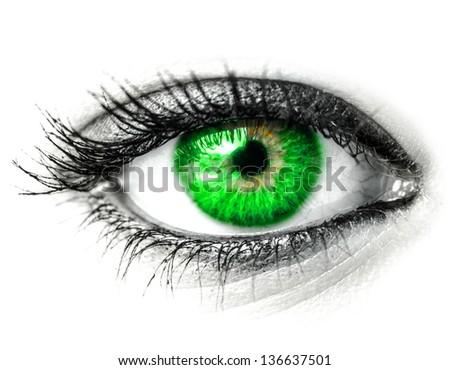 Green woman eye macro shot - stock photo