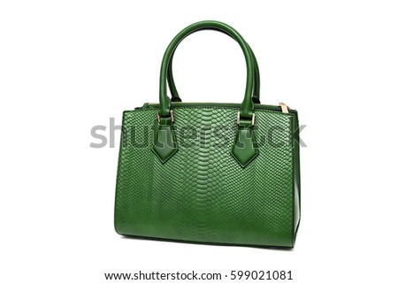 Green woman purse handbag isolated on white background