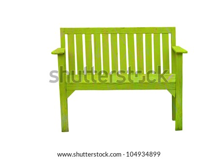 Green wooden bench in the white background - stock photo