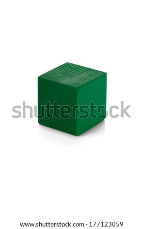 Green wooden cube toy isolated on white background