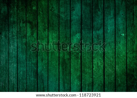 Green wooden fence texture - grunge style - stock photo