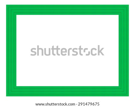 Green wooden frame isolated on white background. - stock photo
