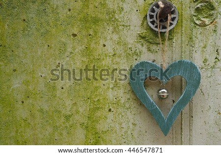 Green wooden heart  - stock photo