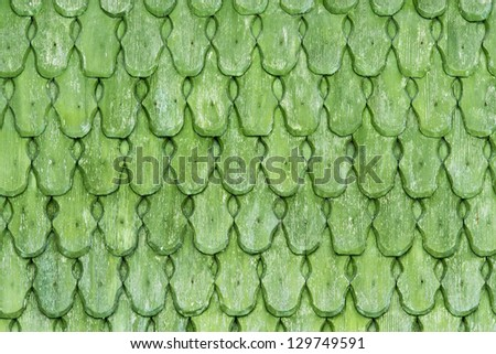 Green wooden shingles - stock photo
