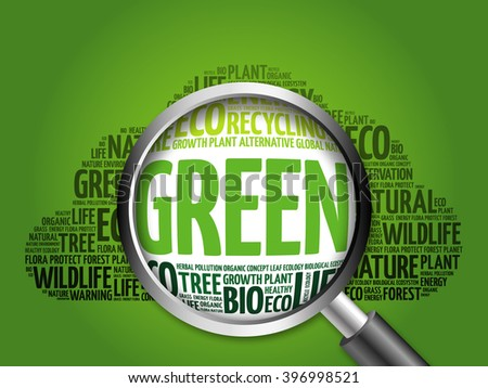 GREEN word cloud with magnifying glass, ecology concept