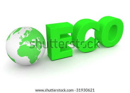 green word Eco with 3D globe replacing letter O