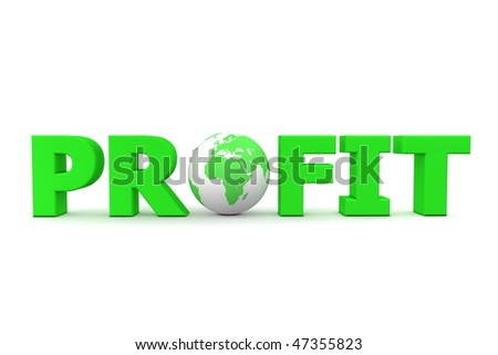 green word Profit with 3D globe replacing letter O - stock photo